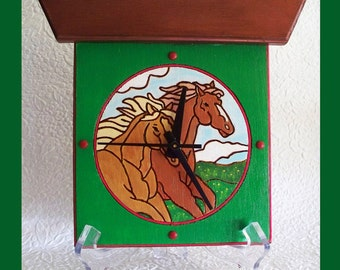 Horse Wall or Table Clock with Bonus Stand
