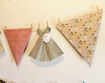 Six foot paper banner, large pennants and origami dresses, chic  garland, bunting, flags, pennant with clothespins