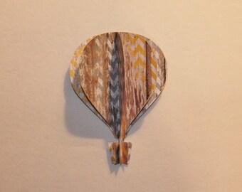 "5"" 3d Hot Air Balloon - beach colors gray yellow barn wood zig zag chevron"