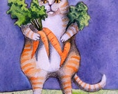 Cat and Carrots Card