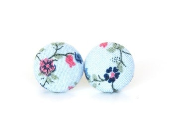 Gift for her - Vintage style fabric earrings - pastel button earrings - floral stud earrings - flower blue pink green