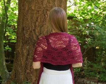 Silk & Bamboo bridal lace wrap shawl- Plum