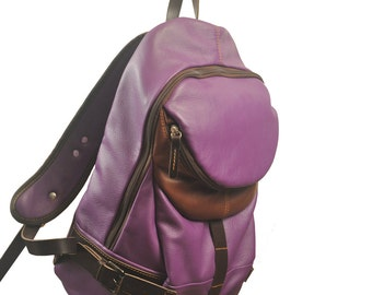 Handcrafted leather backpack, Nota in Bright purple   MADE TO ORDER