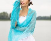 Turquoise Women Scarf Scuba Blue Shawl Weddings Stole Aqua Linen Wrap Knitted Transparent Sheer Lace Scarves