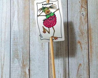 Garden Sign Raspberry Metal Sign on Bamboo Stake UV Protected Against Fading 2x3 sign 12 inch stake Customizable