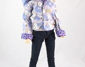 SD Girl/Boy Hello Kitty/Purple Leopard REVERSABLE Hoodie