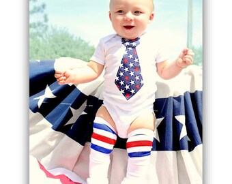 4th of July Patriotic Tie Bodysuit for Baby Boy.  Family Reunion, Memorial Day, Welcome Home Outfit, Summer 2016 Vacation, Father's Day, USA