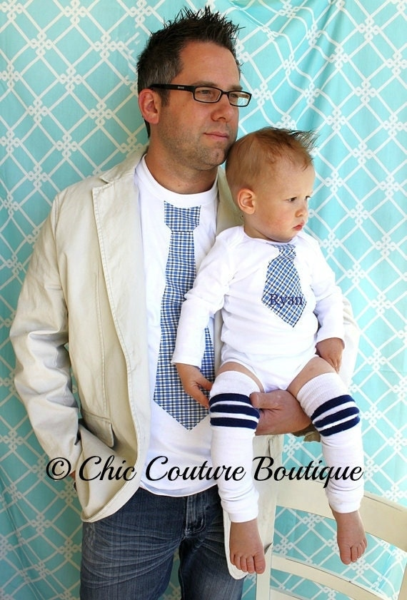 Father's Day Tie Shirt for Daddy, Personalized Tie Bodysuit for Baby Dad Gift, Matching, Daddy and Me. Father's Day Picture Set