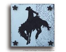 Little Cowboy or Cowgirl Silhouette Wall Art Set, Wild West Art, Rodeo Baby Room Decor, Western Nursery Art, Wild West Baby Shower Gift