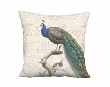 18x18 Inch - READY TO SHIP - Linen Peacock Pillow - Blue Bird Pillow Cover - French Cottage Chic Cushion Cover