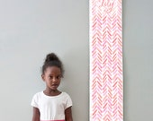 Custom/ Personalized Coral and Pink Watercolor Chevron Growth Chart - Perfect for baby girl nursery or big girl room