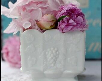Westmoreland Paneled Grape Planter / Milk Glass Wedding Vase / Hip to be Square