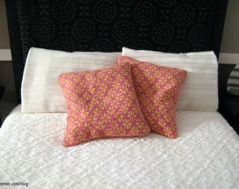 Pink and yellow floral pillows - set of two - dollhouse miniature
