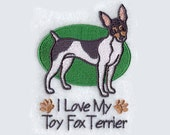 Toy Fox Terrier Tea Towel | Embroidered Towel | Embroidered Kitchen Towel | Embroidered Tea Towel | Bathroom Guest Towel | Dog Tea Towel