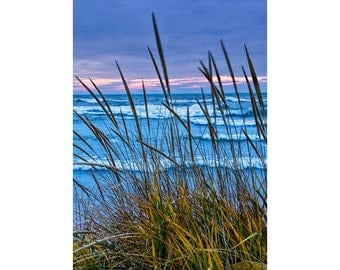 Sunset at the Beach with Dune Grass by the Holland Lake Michigan Shoreline No.V0232 A Vertical Michigan Seascape Photograph