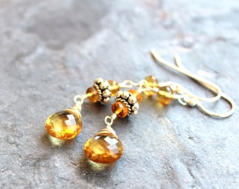 Citrine Earrings Sterling Silver Dangle Beaded Earrings, November Birthstone