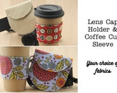 Photographer Gift Set - Camera Lens Cap Holder and Coffee Cup Sleeve - Made to Order