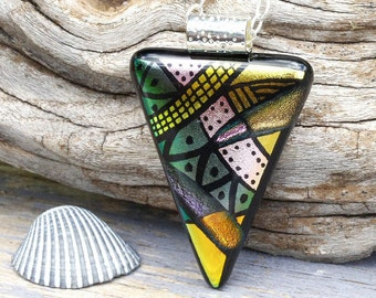 Dichroic Glass Pendant, Fused Glass Jewelry, Necklace; Modern, Geometric, Bold, Abstract - Earthtones / 54mm x 33mm (Item #10710-P)