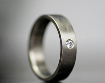 single diamond white gold wedding band  - his or hers simple wedding band with flush set moissanite or diamond - recycled and conflict free