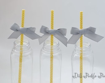 Yellow and White Chevron Paper Straws with Gray Ribbon Bows - 25 count