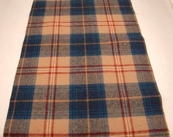 AUTHENTIC CAILEAN TARTAN Reclaimed Pendleton Woolen Fabric Blue Brown Plaid Fabric Pieces 1324