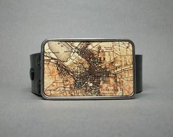 Belt Buckle Vintage Syracuse New York Map on Metal Unique Gift for Men or Women