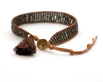 Beaded Cuff Bracelet, Bead Woven Bracelet, Tassel Bracelet, Brown Boho Wrap Bracelet, Beach Hippie Bracelet, Friendship Gift Bracelet