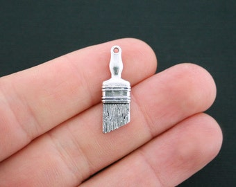 10 Paint Brush Charms Antique Silver Tone 2 Sided - SC4714
