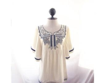 Cotton Kaftan Summer Indian Moroccan Beach Boho Chic Viking Caftan Aztec Tunic Cream Blue Embroidery Hippie Bohemian Mexican Long Top Dress