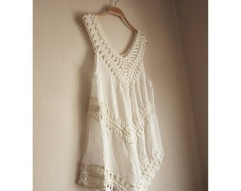 Fringe Top White Ribbed Vest Ripped Beach Crochet Summer Coverup Boho Chic Bohemian Grunge Hippie Indie Elven LOTR Grecian Gypsy Tunic Tank