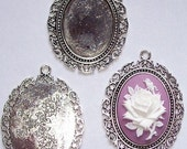1pc 40x30 Antique silver cameo setting cabochon mount plated Pendant frame with Ring gemstone setting sturdy bezel for gem stones  433x