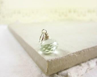 Sm - Sterling Silver Prasiolite Pendant - Green Amethyst Necklace Charms - Light Green Gemstone - JustDangles Handmade Jewelry