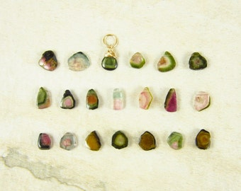 P5 CHOICE - Watermelon Tourmaline Pendant - Pink Tourmaline Jewelry - Green Tourmaline Slice - Healing Crystals and Stones - Stone Jewelry