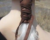 Ponytail Holder Hair Tie Brown Leather Wrap Pony Tail Cuff Hair Jewelry Z101