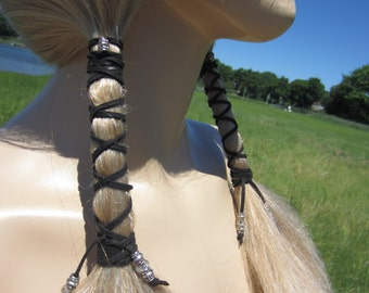 Beaded Hair Wraps BOHO Hair Styles Black Leather Ties Extensions Bohemian Hair Accessories  Z114