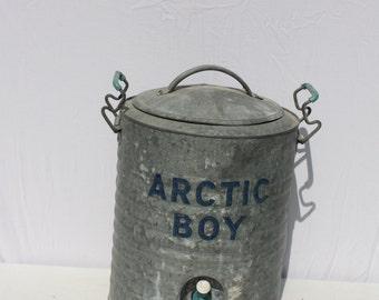 Vintage Arctic Boy Galvanized Zinc Cooler Water Cooler Picnic Cooler 5 Gallon Wedding Decor Farmhouse Decor Industrial Decor