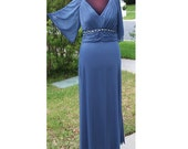 """Vintage 80s Mother of the Bride Bridesmaid Dress Size XL Bust 40"""" Persian Blue Ruched Flutter Sleeves Beaded Sequin Satin Sheer 103"""" Sweep"""