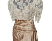 Vintage Cream Gold Raw Silk Ruched Column Dress Size Small Sequins Pearls Lace Wedding Mother of the Bride Bridesmaid Formal Evening Dress