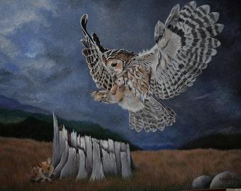 Bird Painting: The Great Escape - Tawny Owl, stormy skies, field mice, rocks, green grass, wildlife, owl painting, blue skies, original
