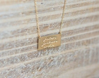 Gold Bar Name Necklace - Family Necklace - Hand Stamped Personalized Custom - Gold Filled - Children's Names - Mom Necklace