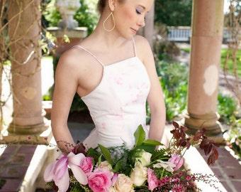 Floral Wedding Dress Pink, Halter, Blush, TICKLED PINK, Tulle Long, Alternative