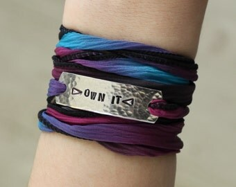 Own It, Wrap Bracelet, Inspirational, Bohemian Jewelry, Silk Wrap Bracelet, Personalized Jewelry, Custom Jewelry, Custom Bracelet