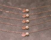 Bridesmaid Bracelet Rose Gold, Bridesdmaid Gift Set of 5, Pearl Personalized Initial Bracelet, Rose Gold Jewelry