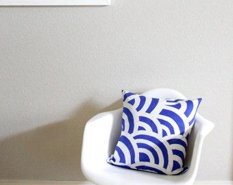 SALE Simile Wave Pattern Batik Pillow, 18x18 inches, Royal Blue