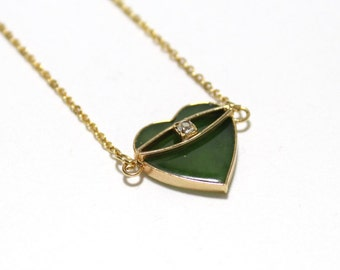 Jade Heart Necklace with Small CZ .2ctw