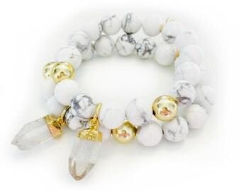 White Marble & Crystal Quartz Bracelet-beaded bracelet, white marble, boho