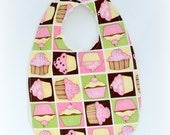 Baby Cotton and Chenille Bib - Pink and Brown Cupcakes