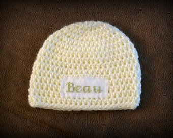 Crochet Baby Personalized Name Cross Stitch Beanie - Newborn to 3 months - Cream - MADE TO ORDER