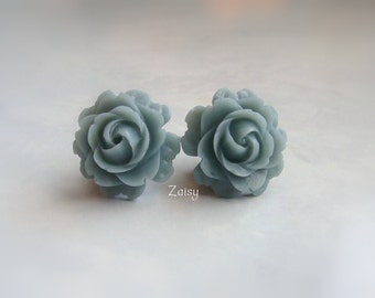 Slate Grey Flower Plugs for Gauged Ears Sizes 3/4 Inch, 5/8 Inch, 9/16 Inch, 1/2 Inch, 00g, 0G, 2G, 4G , 6G, 4mm, 5mm, 6mm, 8mm, 10mm