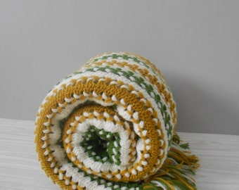 bohemian striped yellow mustard green afghan blanket throw // fringe // twin size bed